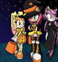 Sonic Girls Halloween 'late' by MidnightBluestar