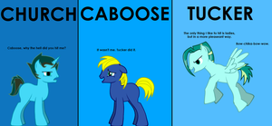 Church, Caboose and Tucker in pony form by DarkWingxJonathan