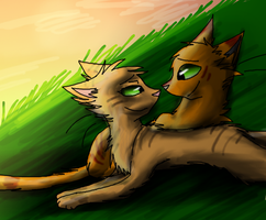 Firestar and Sandstorm by Nightfawn