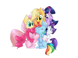 Mane 6: group huggles by lilfaux
