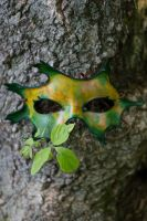 Yellow and Green Oak Leaf Mask by OsborneArts
