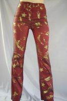 SATIN PANTS WITH GOLD PATTERN by FRANTASEE