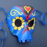 Marigold Skull Leather Mask by merimask
