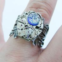 Fused Glass Steampunk Ring by Create-A-Pendant