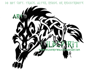 Fenrir Knotwork Wolf Tattoo