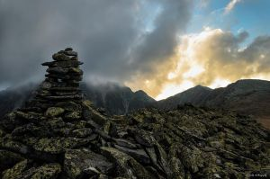 Stack stones on the sunset by trekking-triP