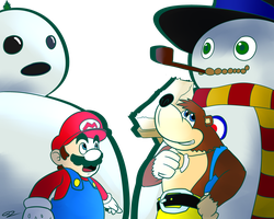 Mario n Banjo - Who had the better Snowman? by GdGreat
