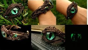 Forest Green Dragon Eye Bracelet - Cuff Detail by LadyPirotessa