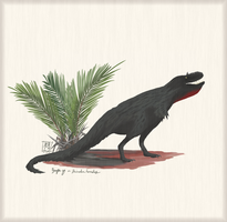 Deinodon horridus w/ Nypa sp. palm by MattMart