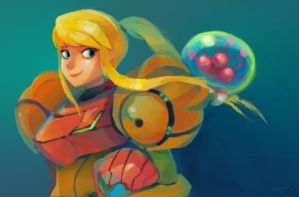 Samus and baby Metroid by zgul-osr1113