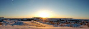 Snowy Sunrise Panorama by whitelouis