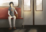 Alone on the train by EeNii