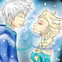 Jack Frost and Elsa by HazeAngel