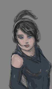 Headphones Girl WIP by Thenotoriousoutlaw