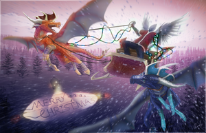Merry Christmas from Ice and Co. by IceDragonhawk
