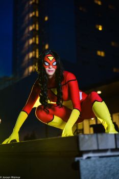 Spider woman rooftop by Kythana