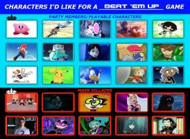 Characters I'd Like For a Beat 'em up Game by thekirbykrisis