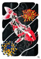 Koi and flowers 02 -coloured- by dfmurcia
