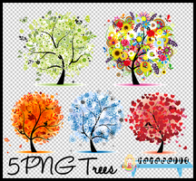 5 PNG Trees by HanaBell1