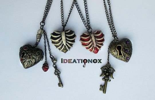 Ribcage and Keyhole Hearts Polymer Clay Necklaces by Ideationox