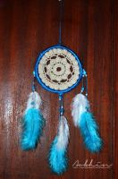 Blue and white dreamcatcher by YourLittleBunny