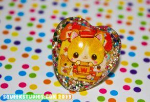 Kawaii Kitty Delivery Boy Resin Ring by squeekaboo