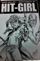 Hit Girl sketch cover by steelcitycustomart