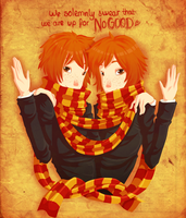 Fred and George Weasley by Kitsoow