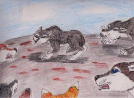 wolves ganging up on one by ShadeAkamarie