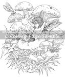 Art of Meadowhaven Coloring Page: Mushroom Faerie by Saimain