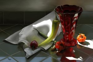 Spring Light with Peppers by virginiarobson