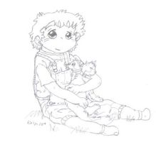 Ethan with cats by kalynvalcourt