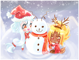 Fun in the snow by moon-valkyrie