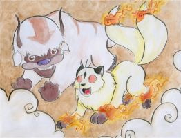Flight race: Appa vs Kirara by Lucky-phantom