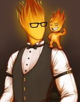 TWO HOT GUYS (Grillby + Heats) by daisyein