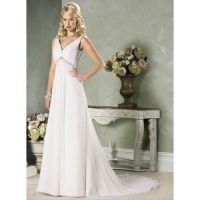 Empire V-Neck Chapel train Chiffon wedding dress f by Kangxiao