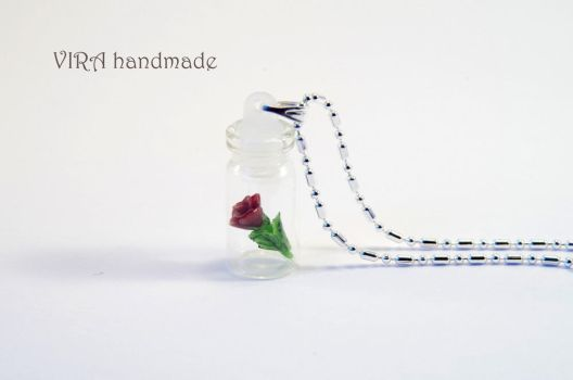 Tiny rose in a bottle necklace by virahandmade