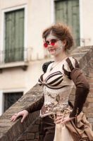 Corset embroidery on a steampunk doll by GrimildeMalatesta
