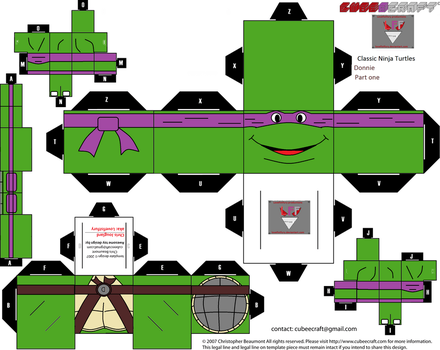 classic ninja Turtles Donnie Cubee template part 1 by lovefistfury