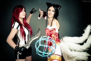 Red Card Katarina Ahri Cosplay  League of Legends by Dragunova-Cosplay