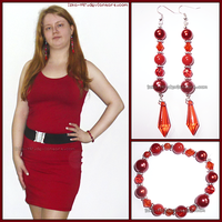 Red Dress + Hand Made Jewelry Red Set by izka-197