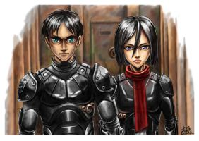 Eren JAEGER and Mikasa Ackerman by PAPER---MAN