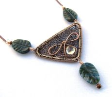 bronze triangular necklace by annie-jewelry