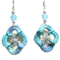 Mixed media chainmaille crochet earrings by doilydeas