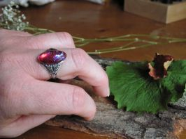 Dragon's Breath Ring Fire Opal Sterling finish by artistiquejewelry