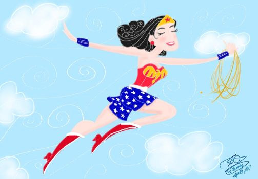 Wonder Woman tooned painting by E-Ocasio