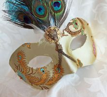 Ivory Gold Satin Brocade Masquerade Mask by DaraGallery