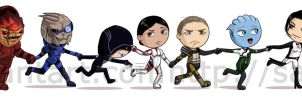 The Mass Effect 1 and 2 gang by saurien