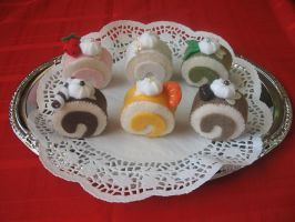 Hand sewn Felt Cake Rolls by anonymous-dreams