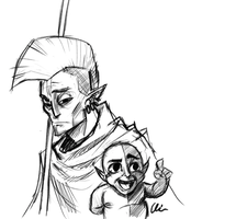 Nerevar and Baby Vivec by Some1Silly
